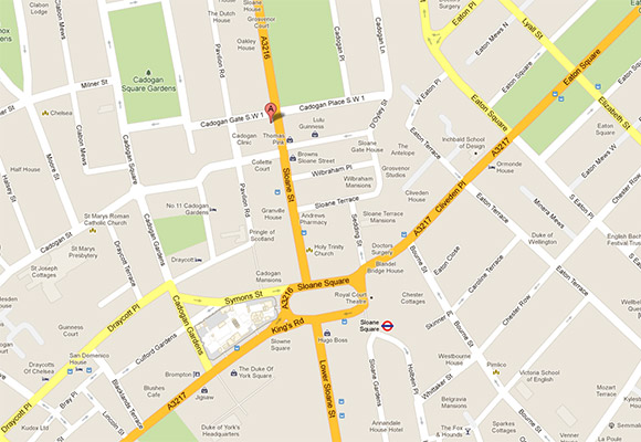 Cadogan Clinic location map